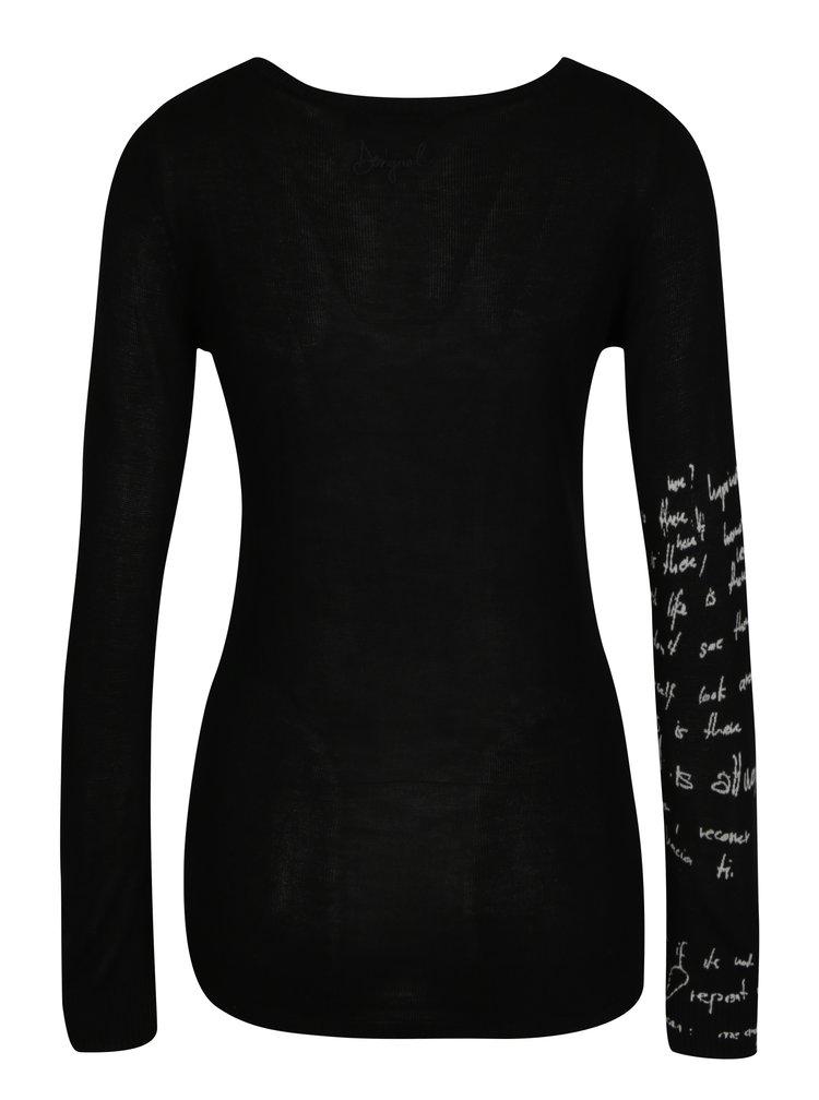 Černý svetr s potiskem Desigual Sylvatica