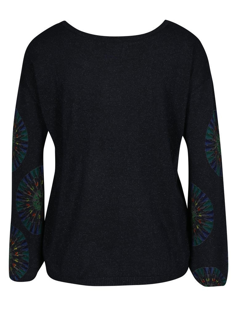 Tmavě modrý třpytivý svetr s potiskem Desigual Valeri