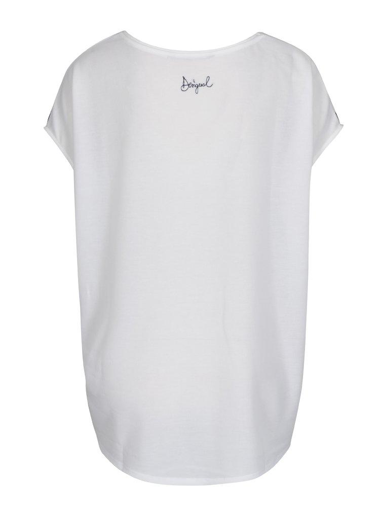 Bílé volné tričko s potiskem a stahováním v pase Desigual Unforgetable