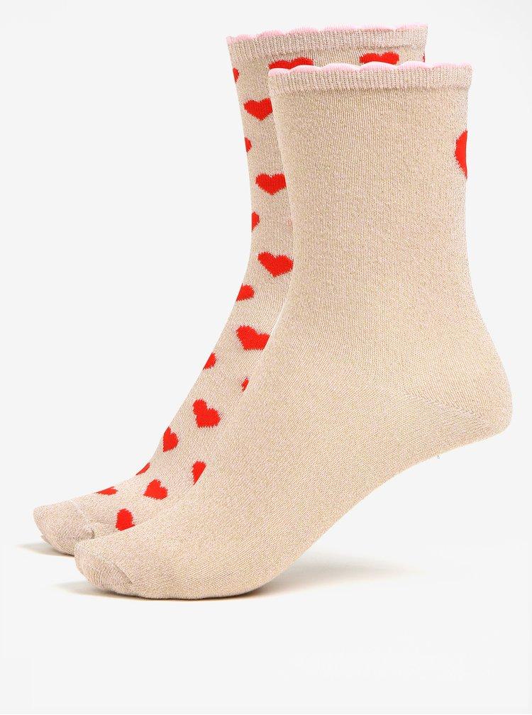 Sada dvou párů ponožek v béžové a zlaté barvě v dárkové krabičce VERO MODA Valenti