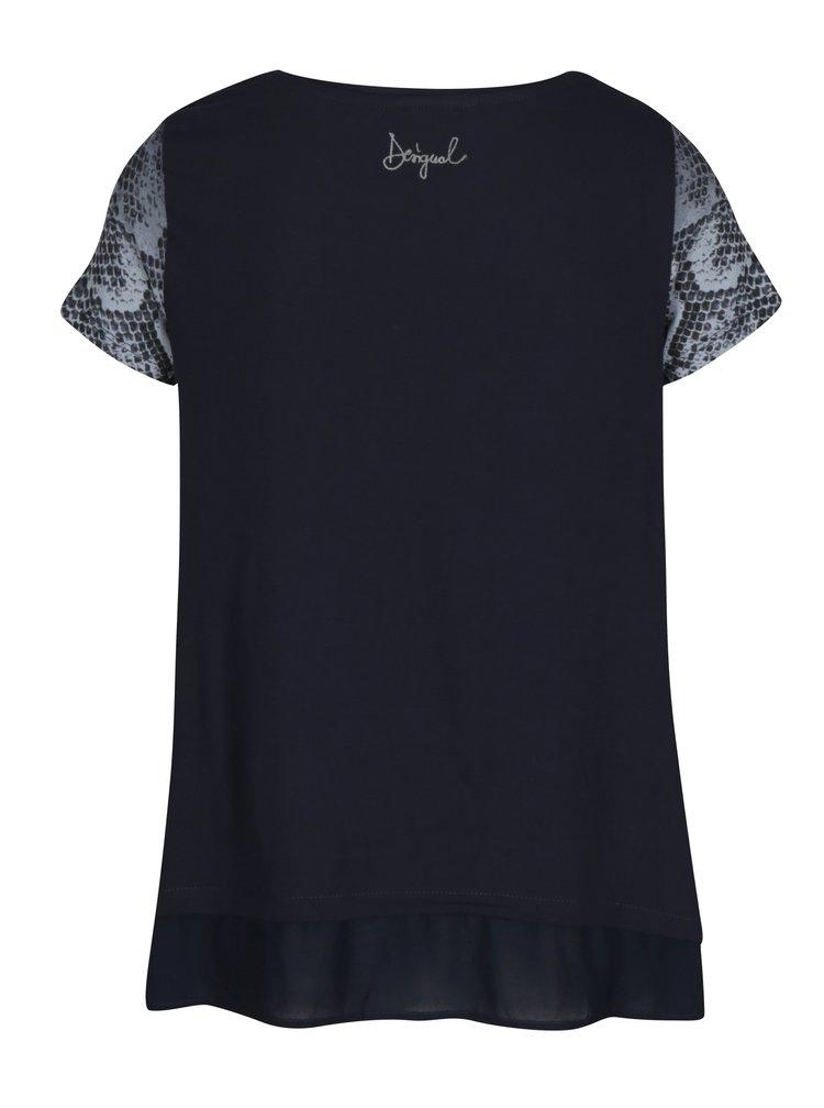 Tmavě modré tričko s potiskem Desigual Daphne