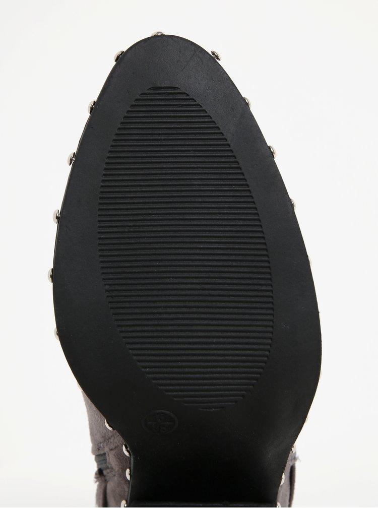 Sivé členkové topánky v semišovej úprave s aplikáciou MISSGUIDED