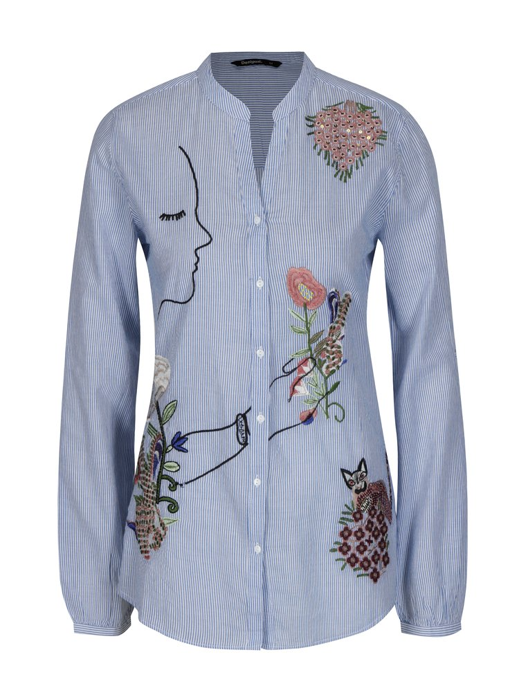 Modrá košile s výšivkou a flitry Desigual Baixinha