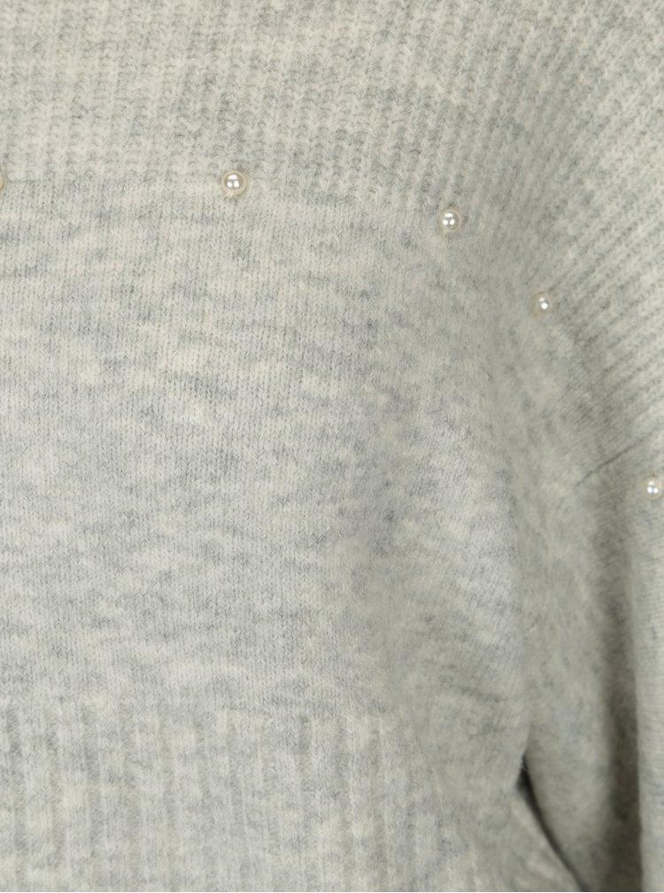 Pulover gri deschis melanj cu margele in forma de perle Miss Selfridge