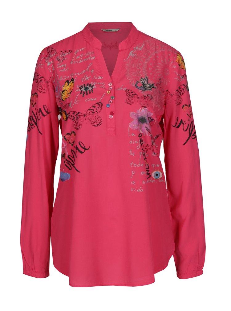Růžová květovaná halenka  Desigual Loretta