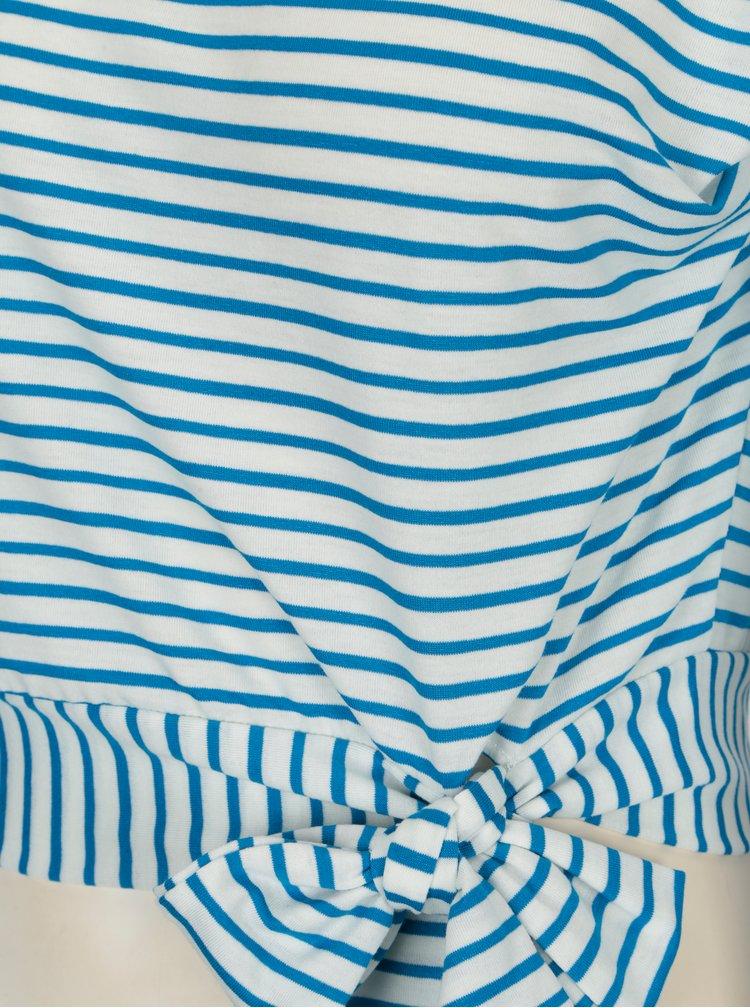 Modro-bílé pruhované tričko s uzlem Miss Selfridge
