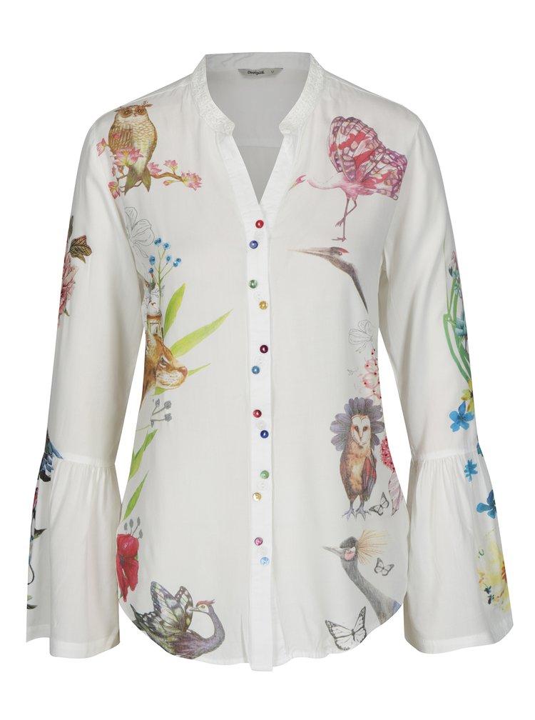 Bílá košile s potiskem a zvonovými rukávy Desigual Aritagua