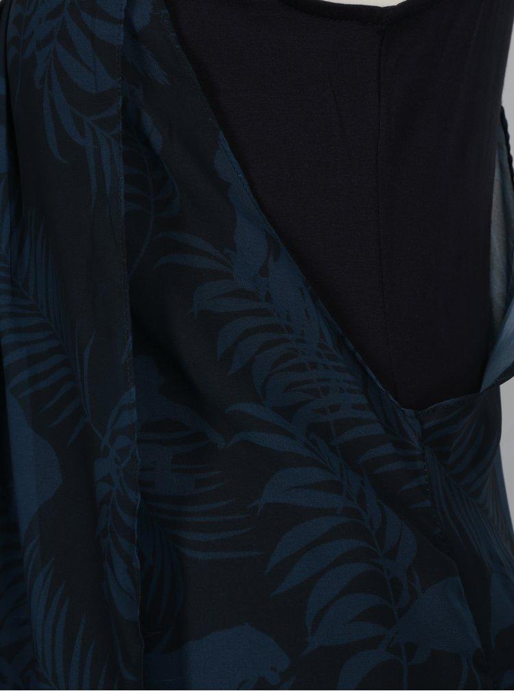 Tmavě modré vzorované překládané maxišaty Desigual Rita