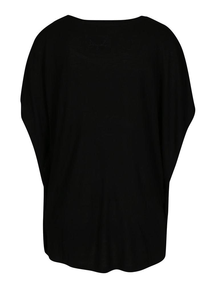 Černé volné tričko s potiskem Desigual Strange Fruit