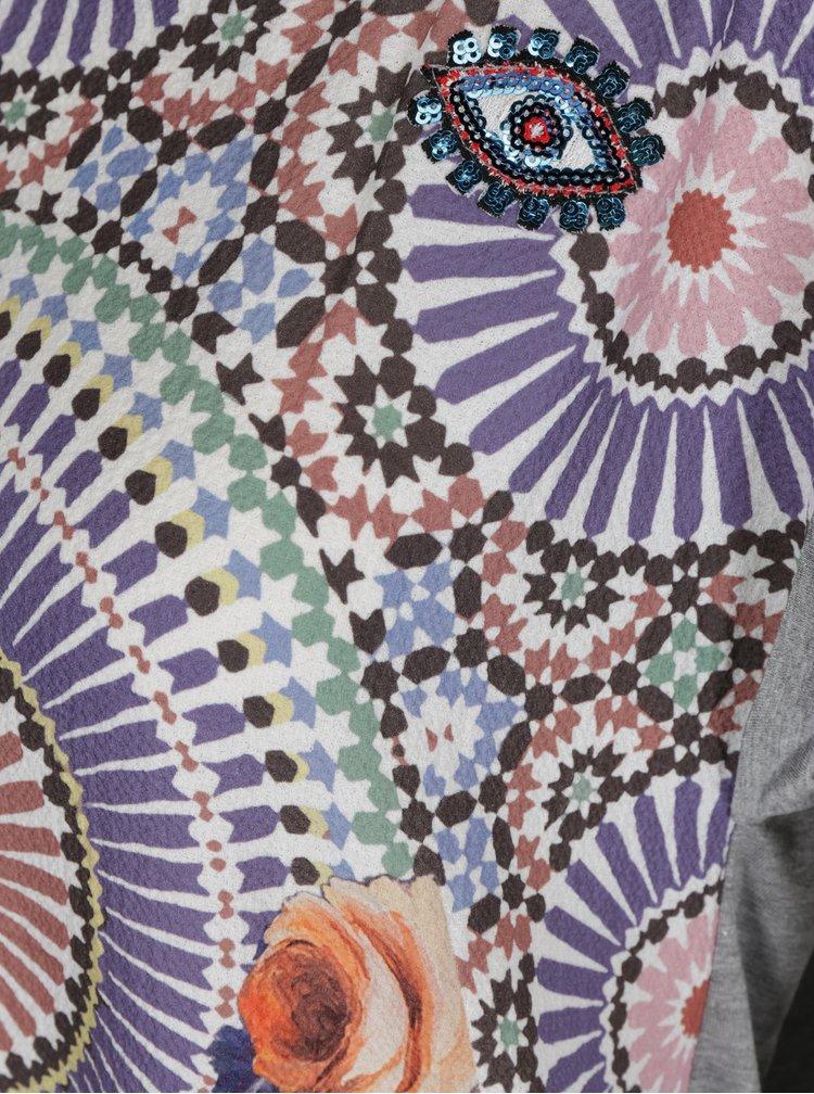 Tricou gri melanj cu print multicolor Desigual Claudine