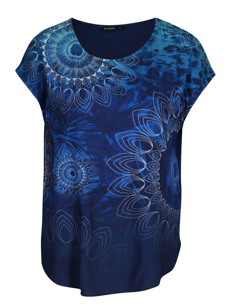 Tmavě modré tričko s potiskem Desigual Grace