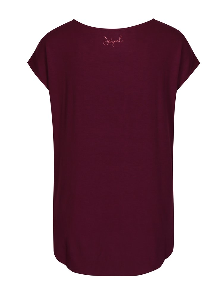 Vínové tričko s potiskem Desigual Grace