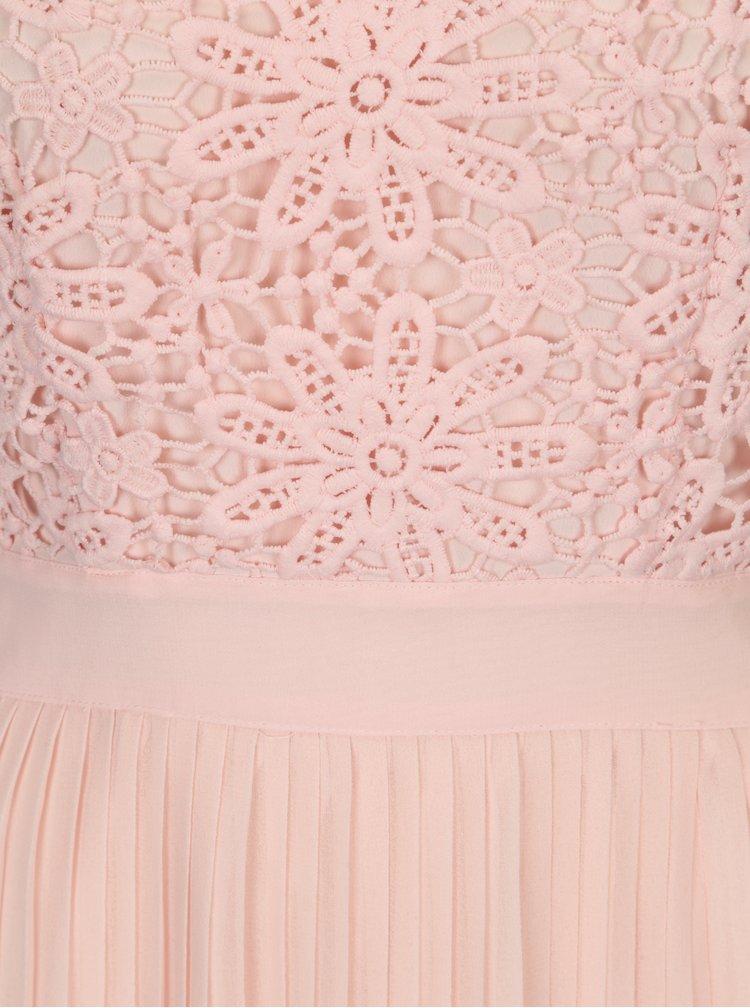 Rochie maxi roz cu dantela si fusta plisata Miss Selfridge