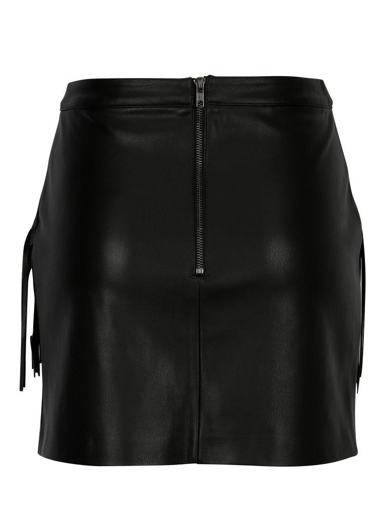 Černá koženková sukně s třásněmi Miss Selfridge