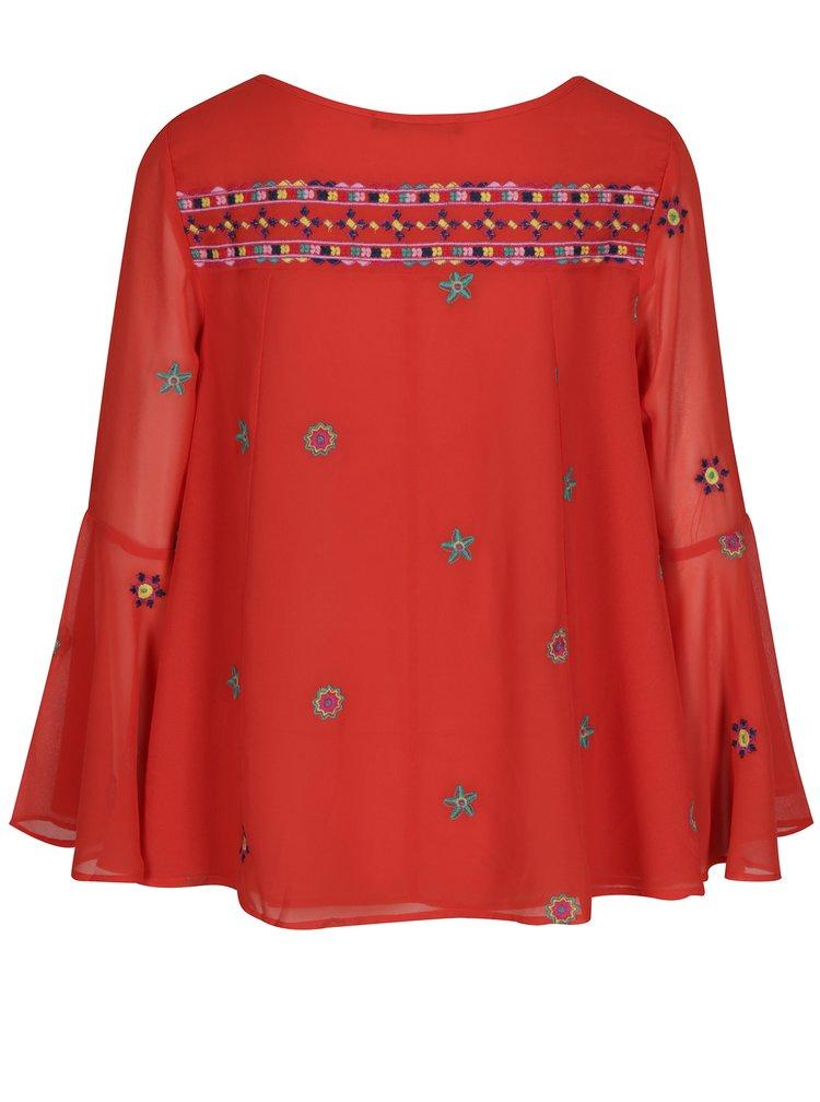 Červená halenka se zvonovými rukávy Desigual Karissa