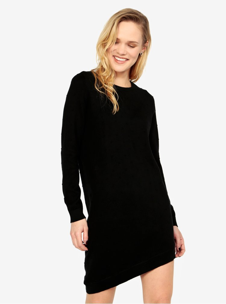 Černé svetrové vzorované asymetrické šaty ONLY Alberte