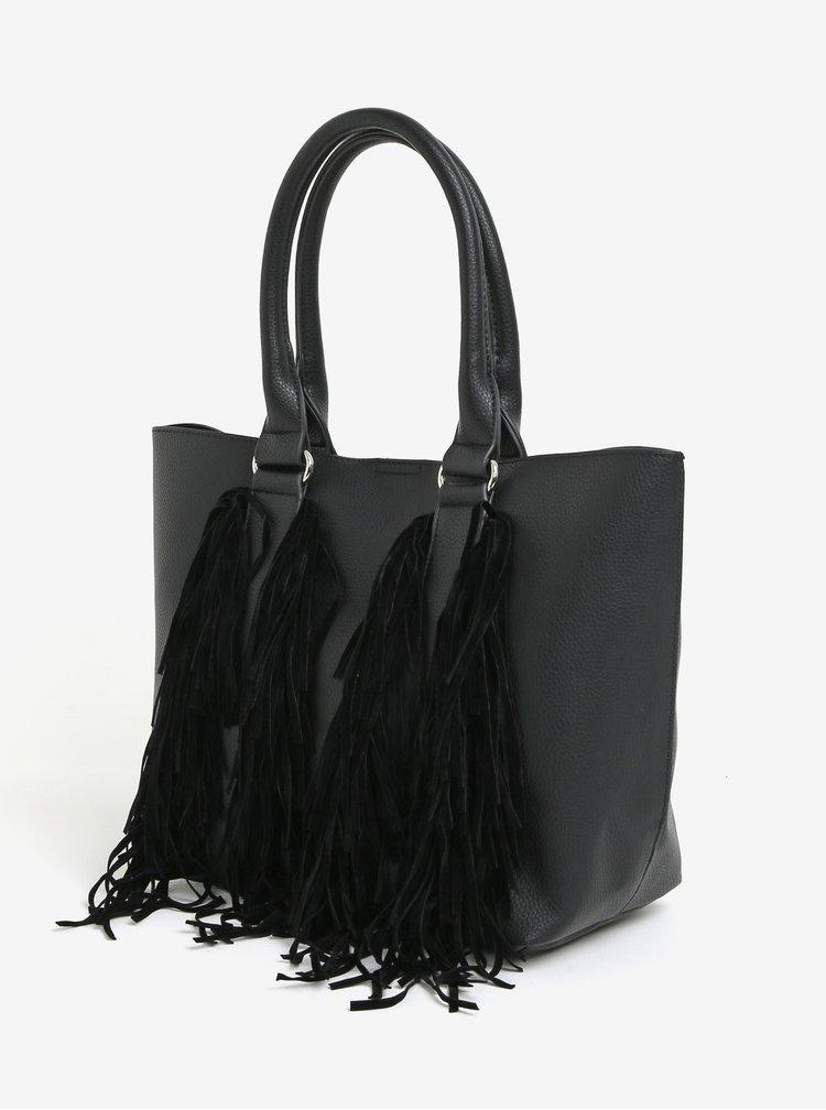 Černý shopper s třásněmi Miss Selfridge