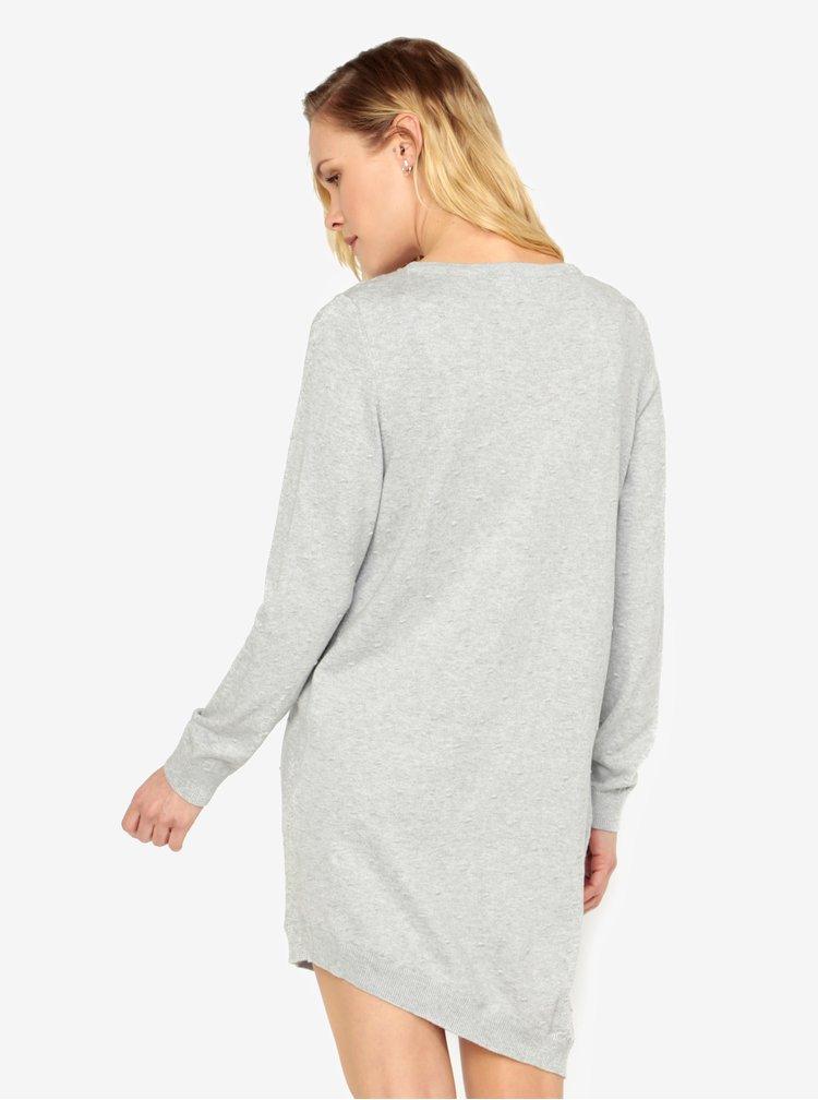 Světle šedé svetrové vzorované asymetrické šaty ONLY Alberte