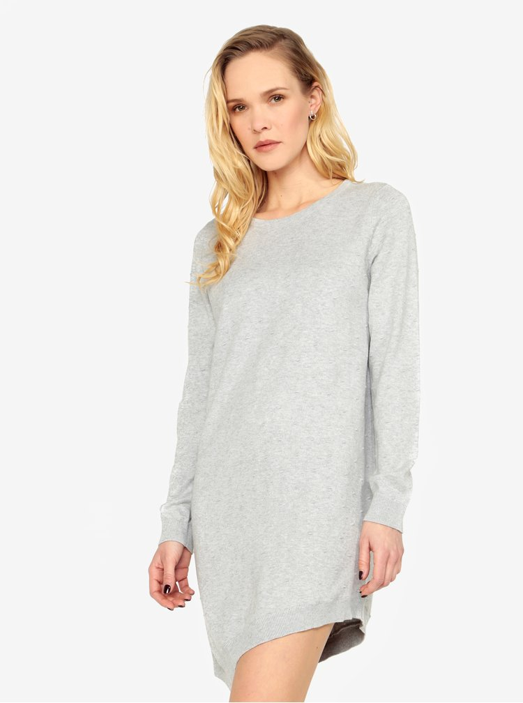 Rochie pulover asimetrica gri deschis cu buline - ONLY Alberte
