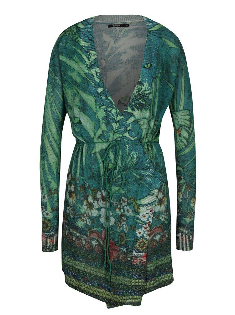 Cardigan verde cu print floral si cordon in talie - Desigual Griny