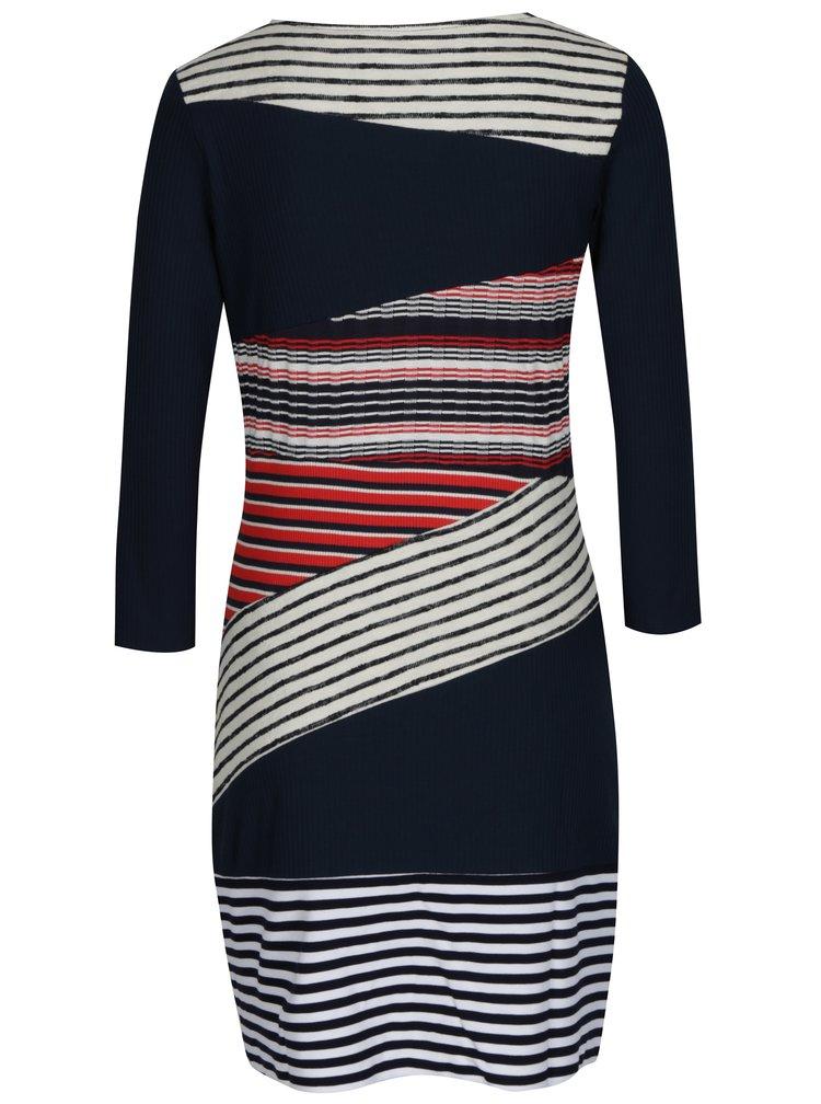 Modré vzorované svetrové šaty Desigual Rita Levi