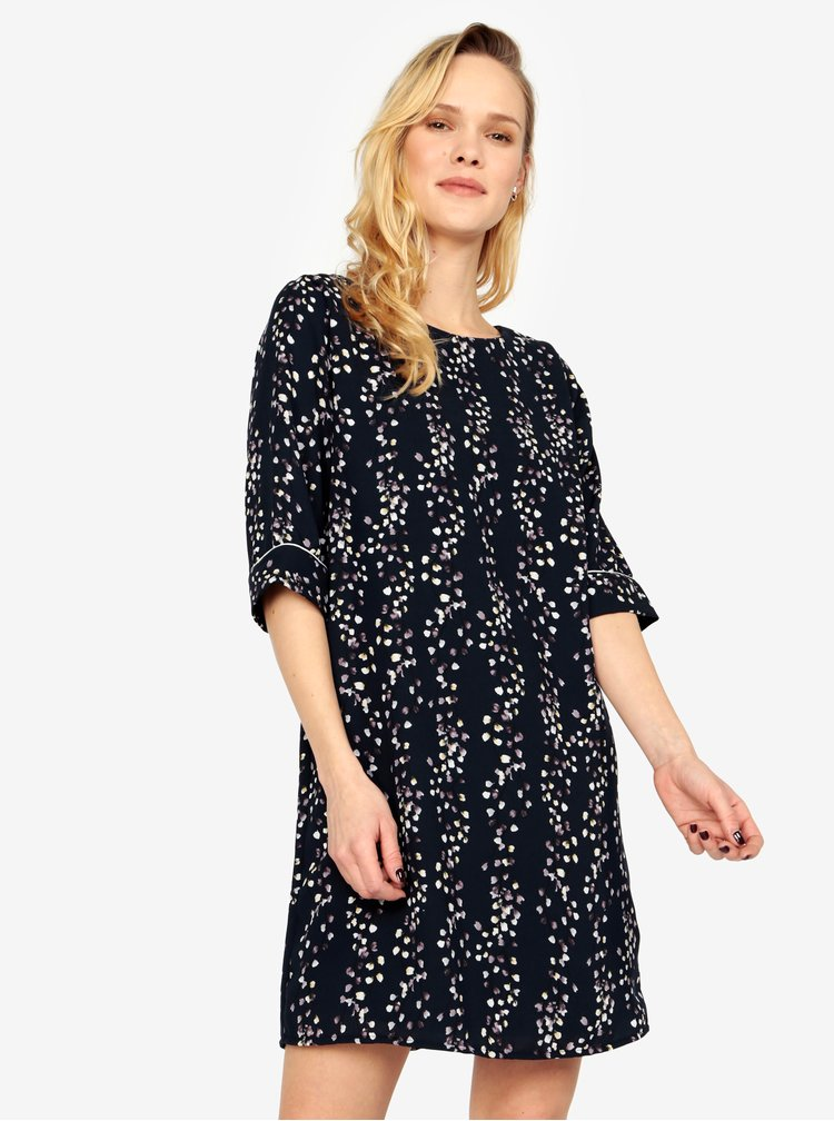 Rochie bleumarin cu print floral si maneci 3/4 ONLY Ditte