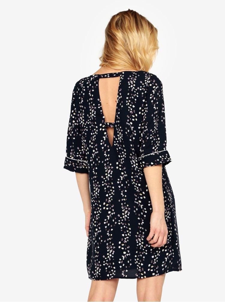Tmavomodré kvetované šaty s prestrihom na chrbte ONLY Ditte