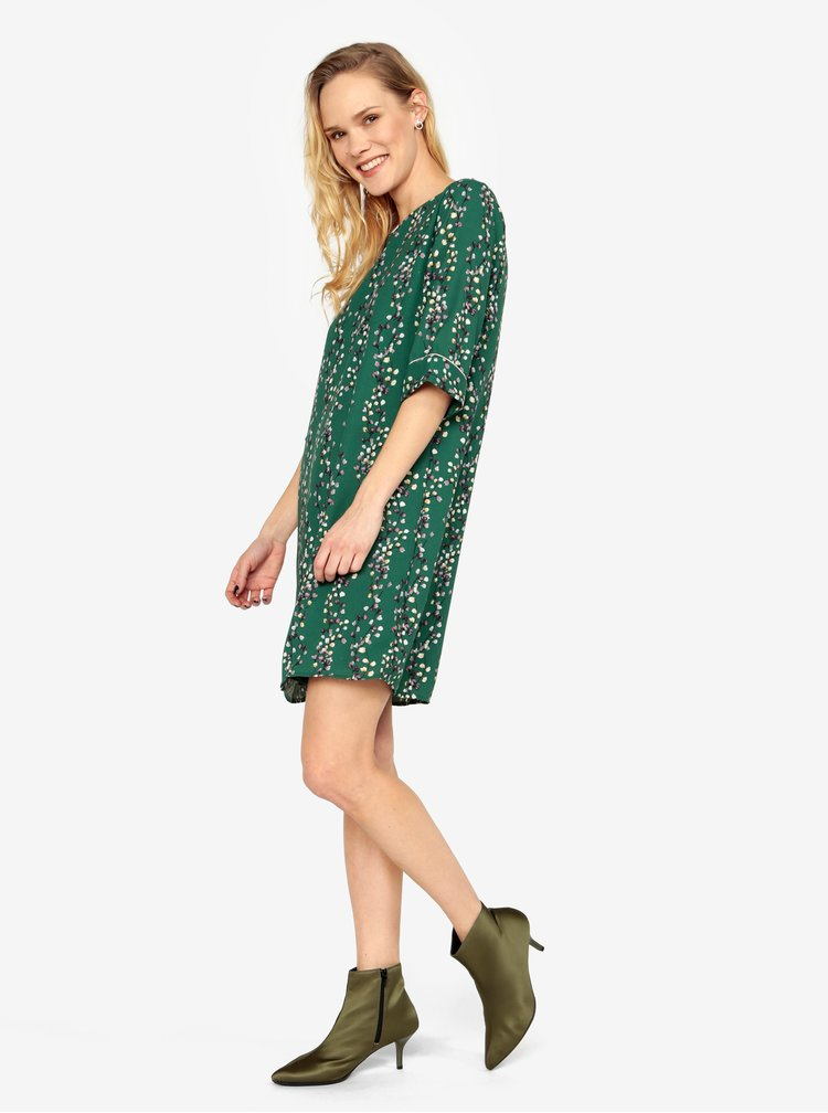 Rochie verde cu print floral si maneci 3/4 ONLY Ditte