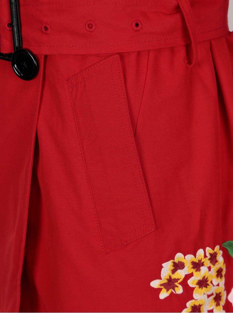 Červený trenčkot s nášivkami Desigual Murielle