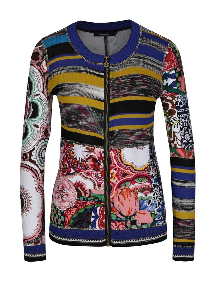 Cardigan subtire cu print multicolor - Desigual fine Balance