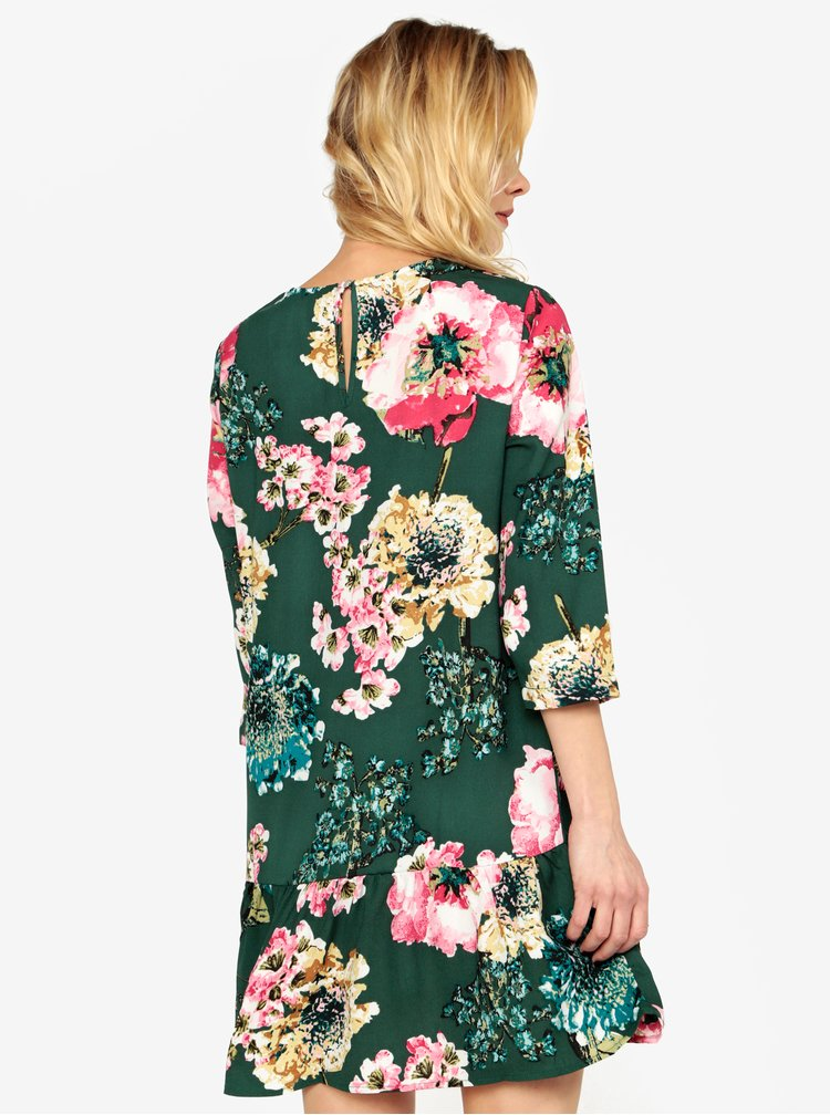 Zelené kvetované šaty s volánom ONLY Katehrine