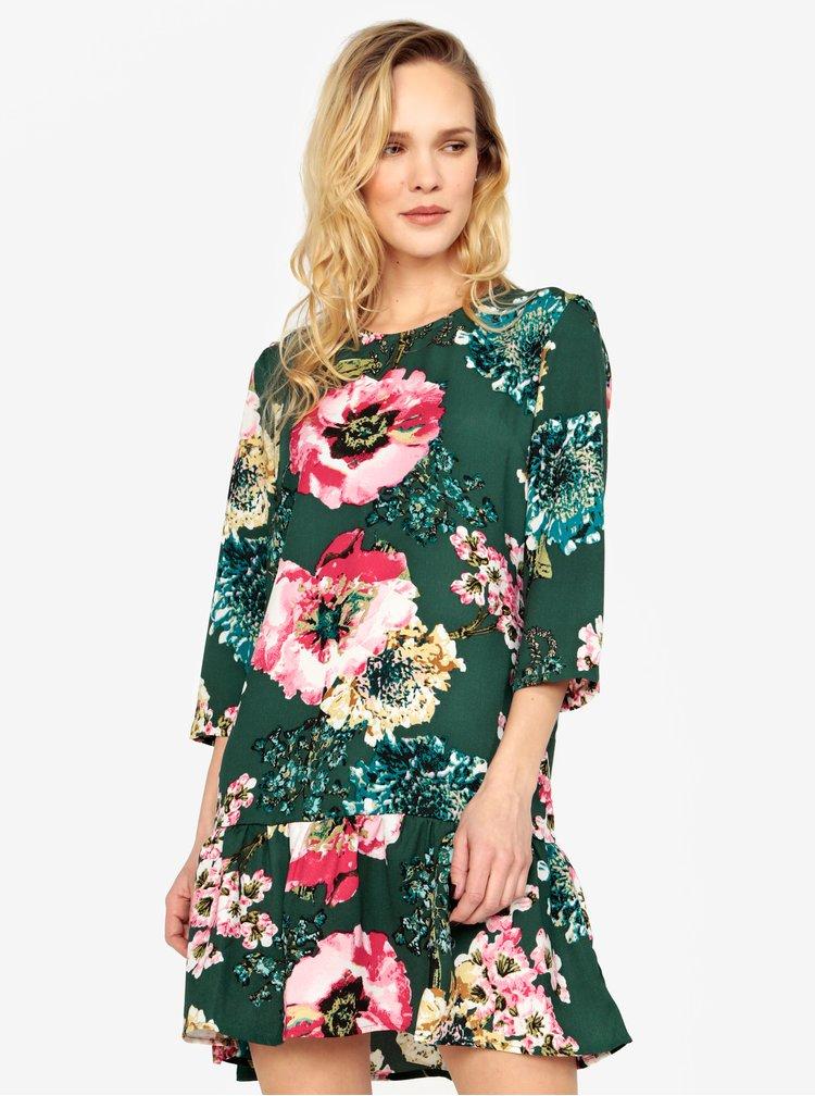 Zelené květované šaty s volánem ONLY Katehrine