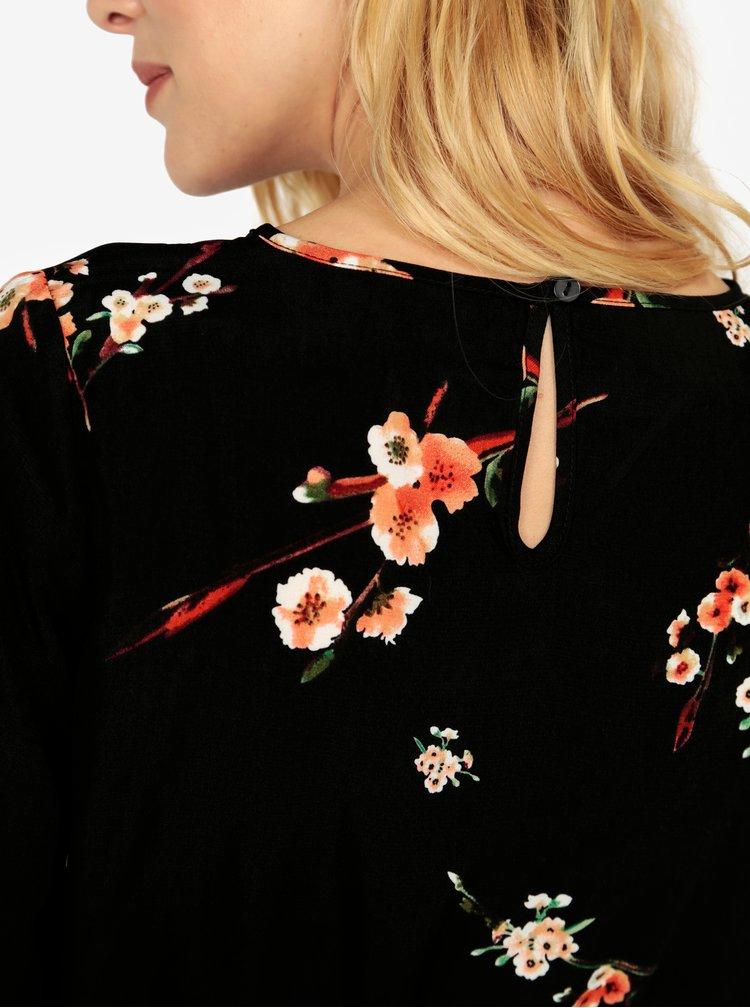 Černé květované midišaty ONLY Japaan