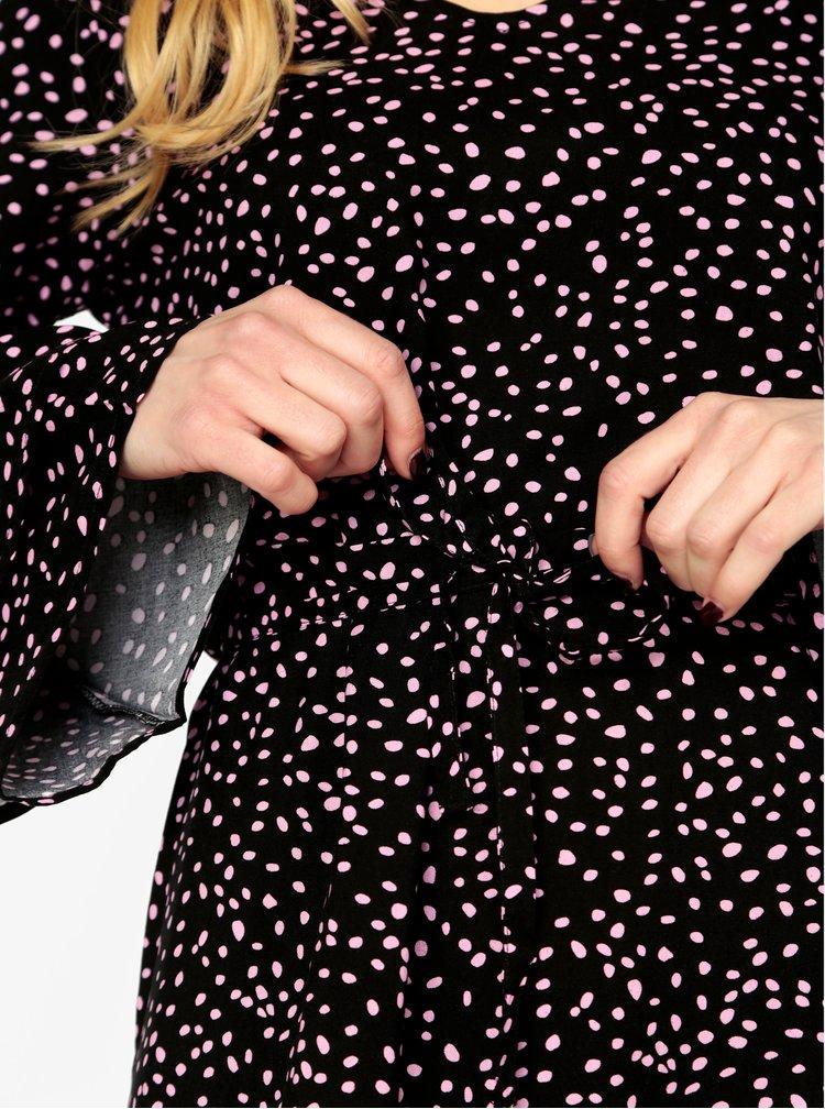 Černé vzorované šaty se zvonovými rukávy ONLY Anika