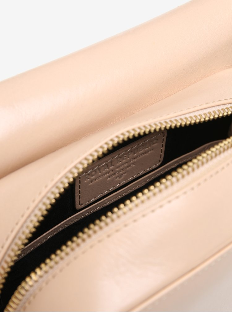 Béžová malá kožená crossbody kabelka Royal RepubliQ Raf Curve