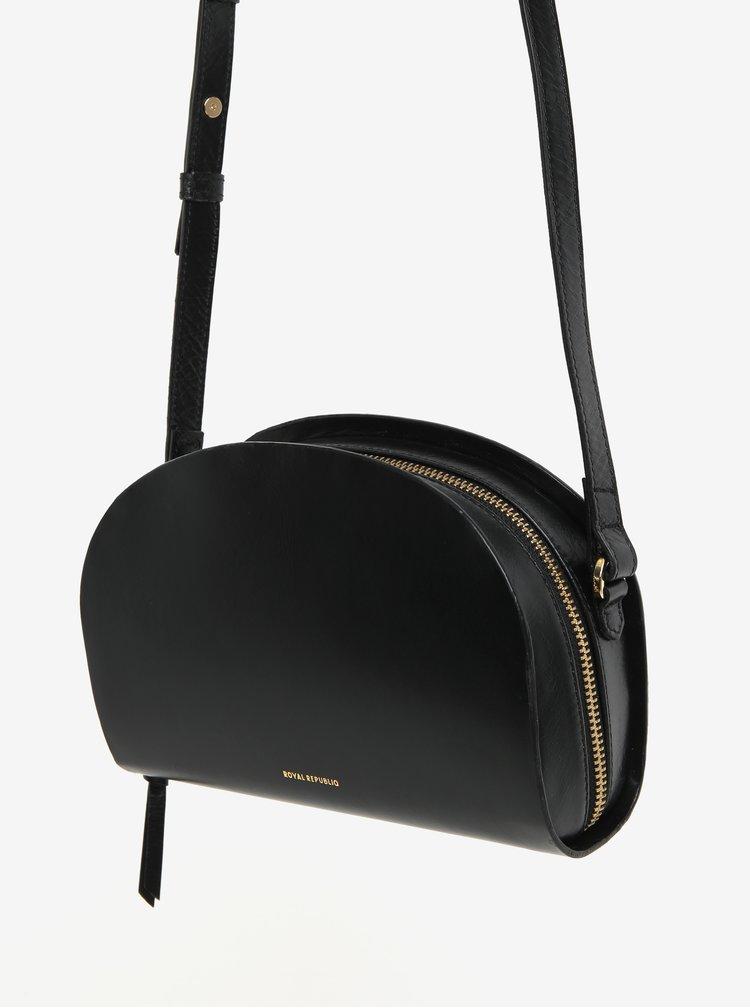 Černá kožená crossbody kabelka Royal RepubliQ Galax Curve