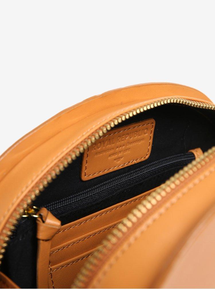 Světle hnědá kožená crossbody kabelka Royal RepubliQ Galax Curve