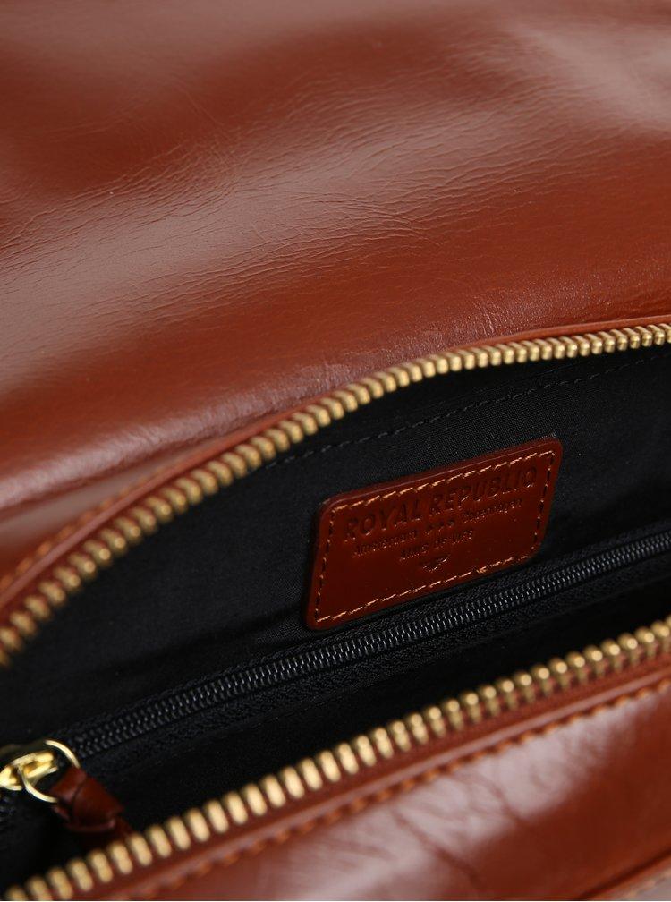 Hnědá velká kožená crossbody kabelka Royal RepubliQ Raf Curve