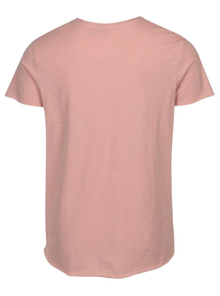 Tricou basic roz melanj Jack & Jones Bas