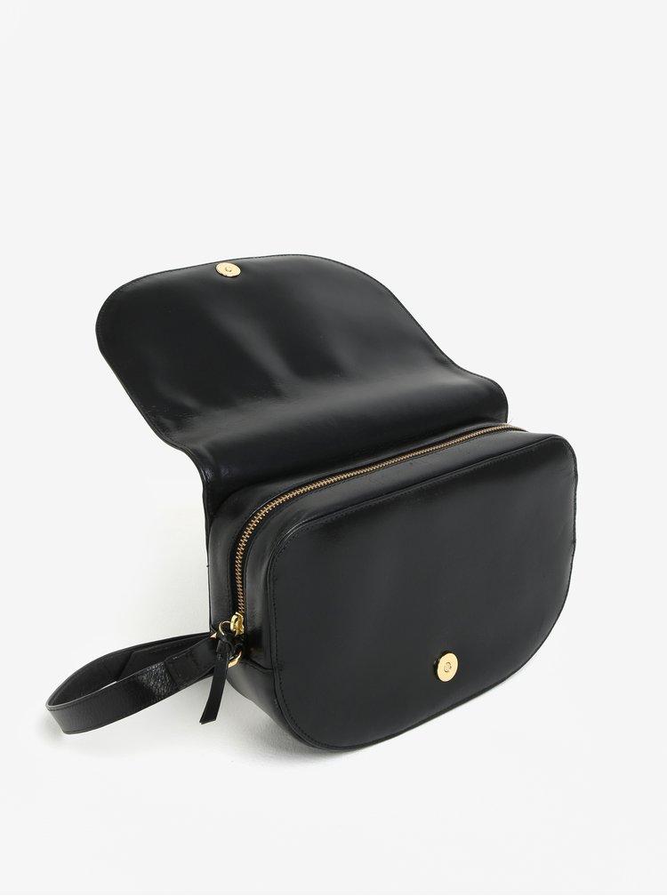 Černá velká kožená crossbody kabelka Royal RepubliQ Raf Curve