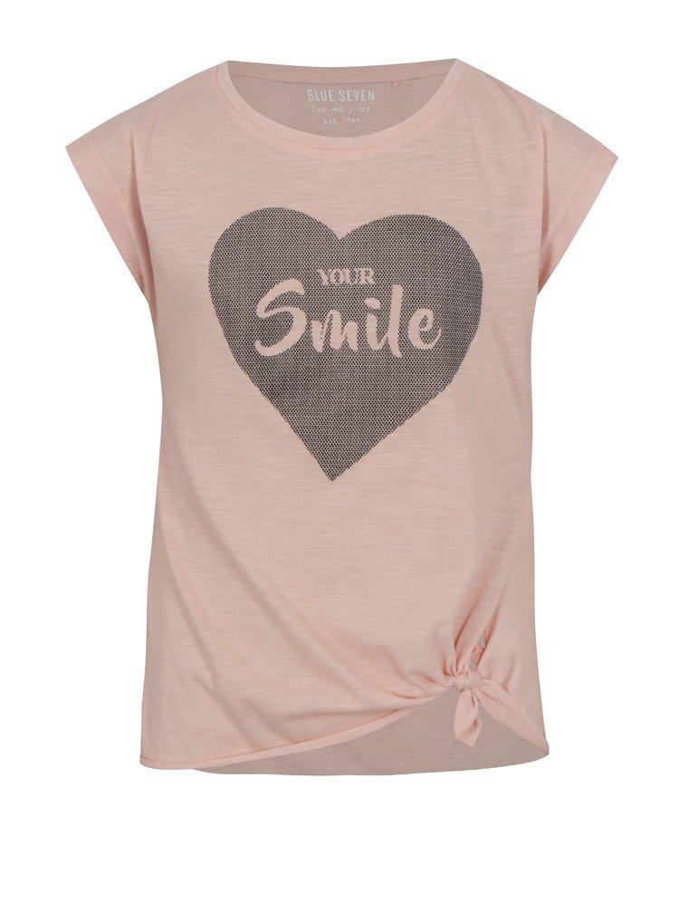 Světle růžové holčičí tričko s potiskem a uzlem Blue Seven