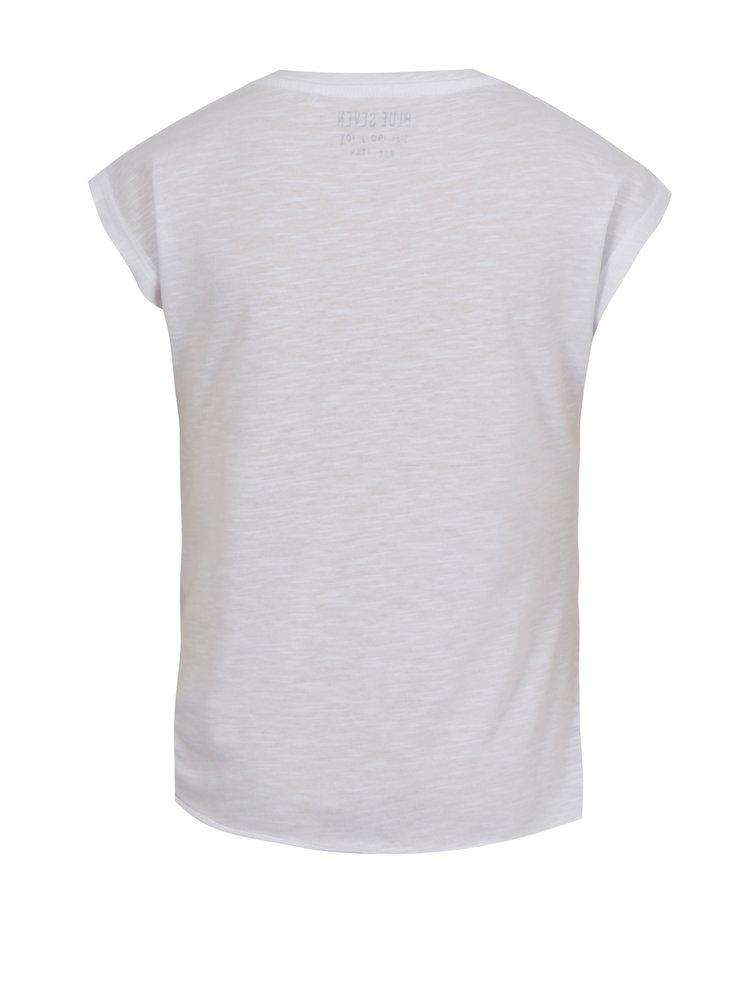 Bílé holčičí tričko s potiskem a uzlem Blue Seven