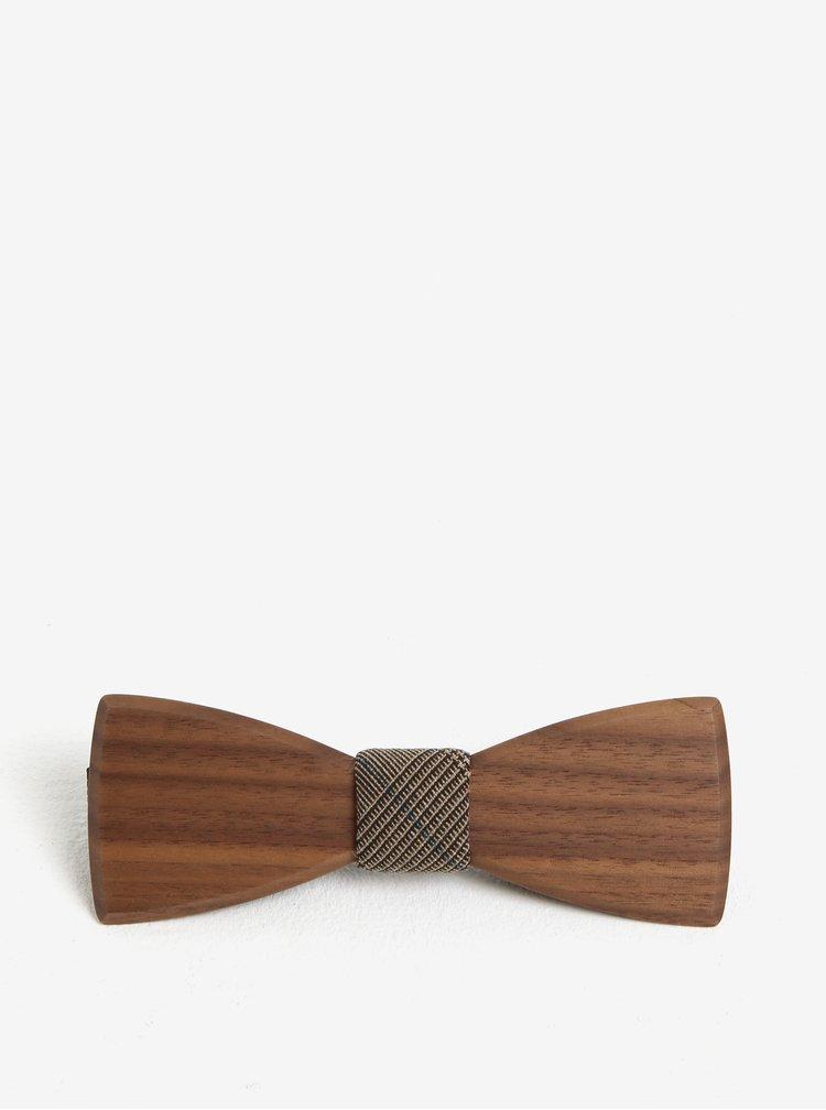 Papion din lemn cu detaliu decorativ pentru barbati - BeWooden New Lupus