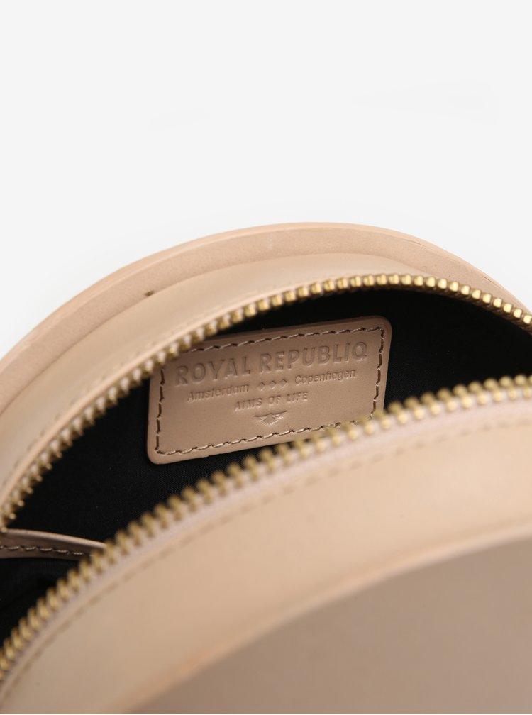 Béžová kožená kulatá crossbody kabelka Royal RepubliQ Galax Round