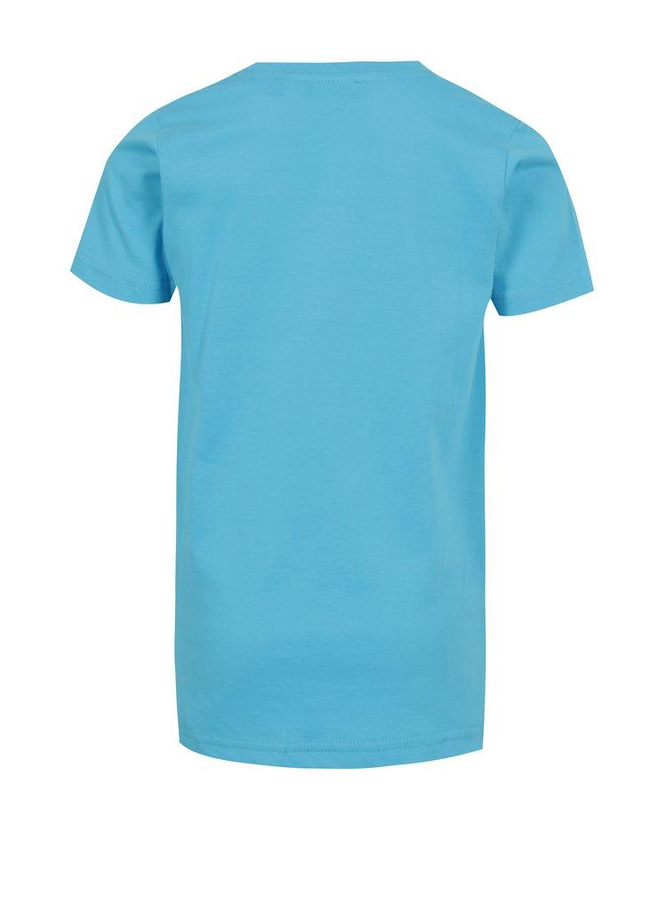 Tyrkysové chlapčenské tričko s predĺženým zadným dielom a potlačou Blue Seven