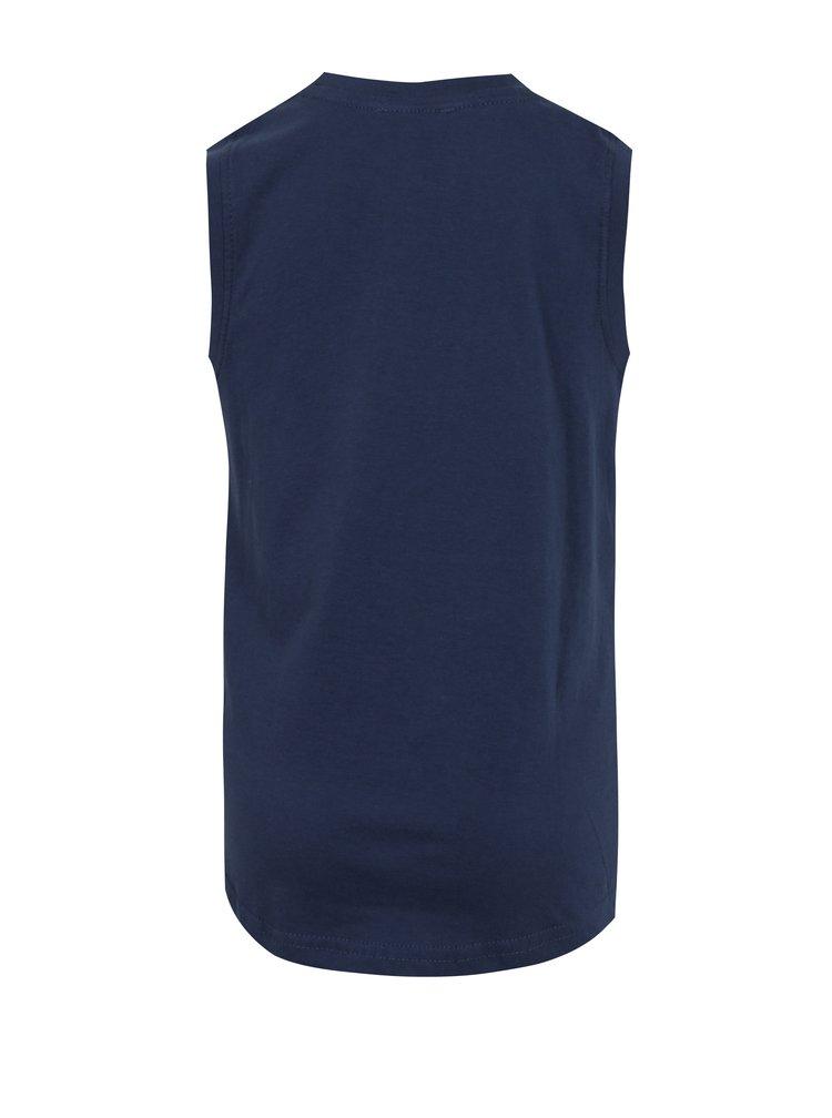 Tmavě modré klučičí tričko bez rukávu s potiskem Blue Seven