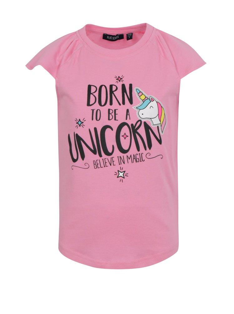 Růžové holčičí tričko s potiskem jednorožce Blue Seven