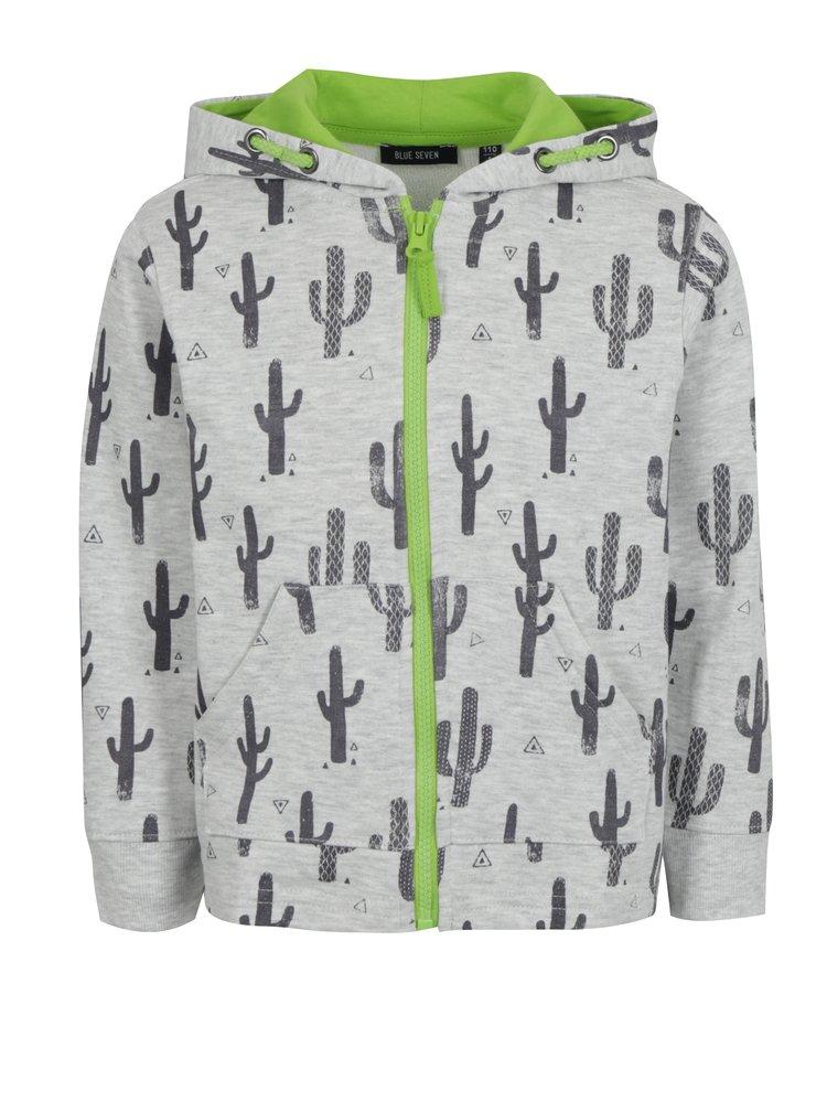 Světle šedá klučičí mikina s kaktusy Blue Seven