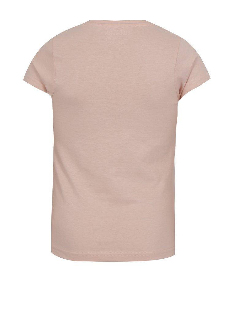 Starorůžové holčičí tričko s krátkým rukávem a nápisem Blue Seven