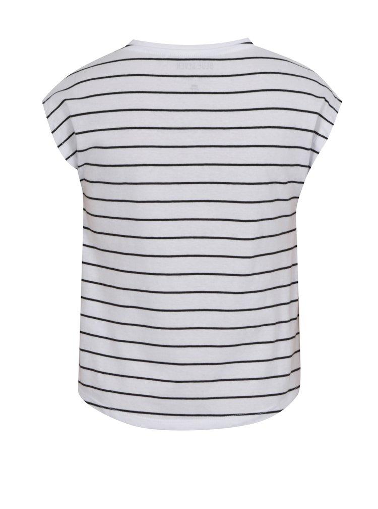Bílé holčičí pruhované tričko s potiskem a nášivkou Blue Seven